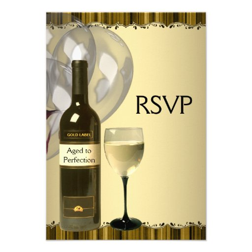 wine glass bottle gold 50th birthday party rsvp zazzle. Black Bedroom Furniture Sets. Home Design Ideas