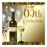 Wine Glass Bottle Gold 65th Birthday Party Custom Invites