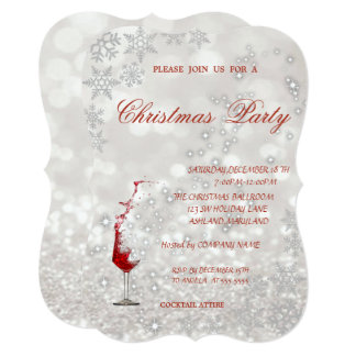 Wine  Glass Glittery,Corporate Christmas Party Card