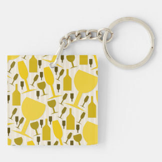 Wine glass pattern Double-Sided square acrylic keychain