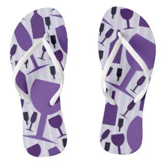 Wine glass pattern flip flops