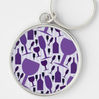 Wine glass pattern Silver-Colored round keychain
