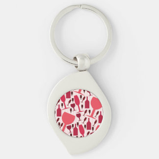 Wine glass pattern Silver-Colored swirl keychain