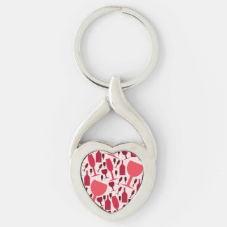 Wine glass pattern Silver-Colored twisted heart keychain