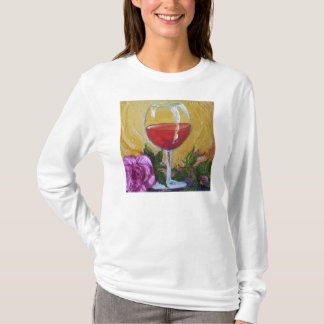 Wine Glass & Pink Rose Ladies Long Sleeve T-Shirt