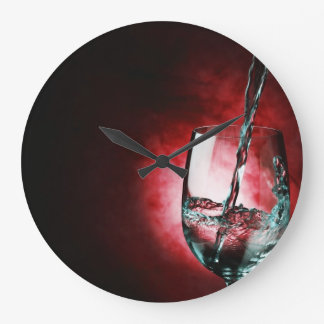 wine glass red clock