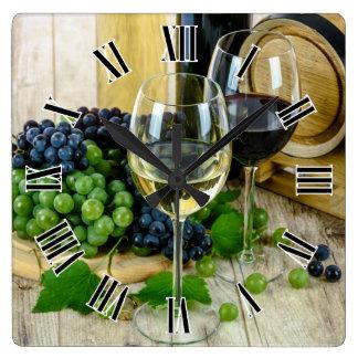 Wine Glass Roman Numerals Design Square Wall Clock