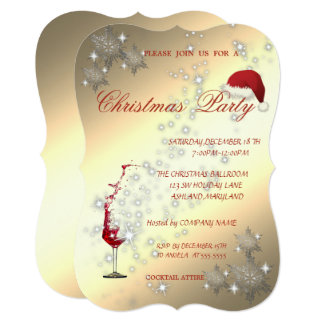 Wine Glass, Snowflakes,Corporate Christmas Party Card