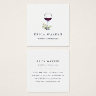 Wine Glass | Sommelier or Wine Industry Square Business Card