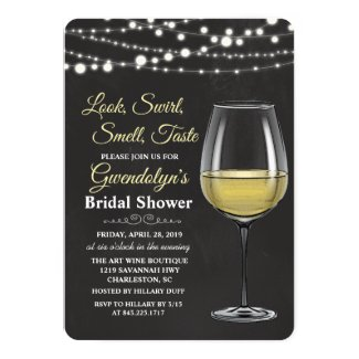 Wine Glass String Lights Bridal Shower Invitation