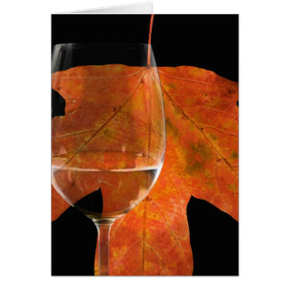 wine glass with fall maple leaf card