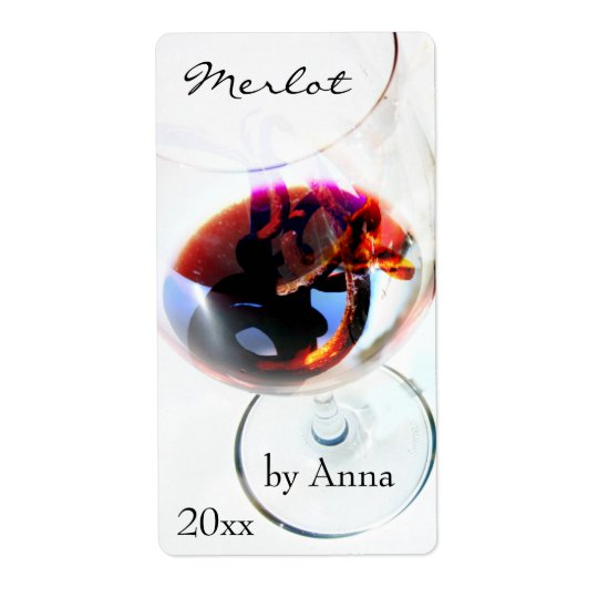 Wine glass with grape tendril shipping label