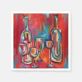 Wine Glasses and Bottles Paper Napkin