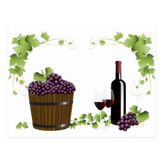 Wine glasses and wine barrel postcard