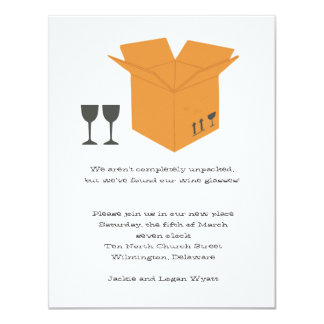 Wine Glasses & Moving Box- Housewarming Invitation