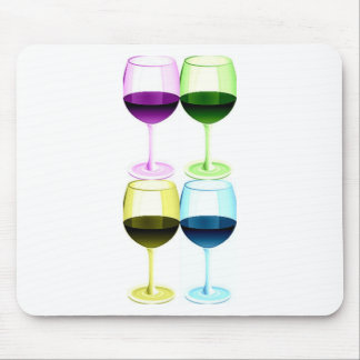 WINE GLASSES PASTEL COLLAGE PRINT MOUSE PAD