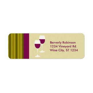 Wine Glasses Return Address Label