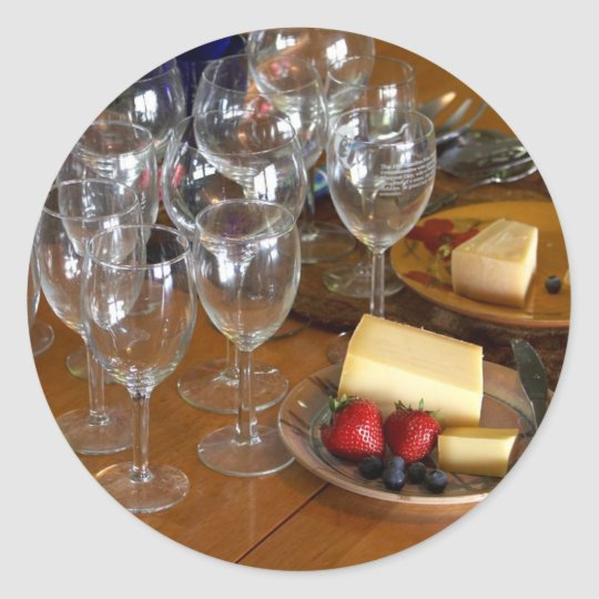Wine Glasses Stawberries And Cheese Still Life Stu Classic Round Sticker