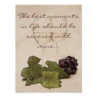 wine glasses with grapes poster