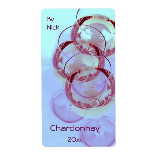 Wine glasses with wine ready for celebration shipping label