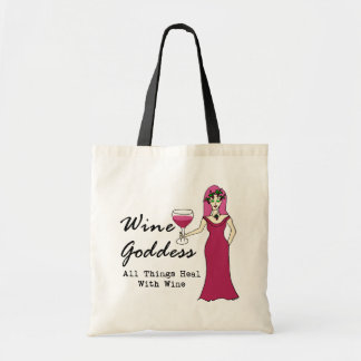 "Wine Goddess ""All Things Heal With Wine"" Tote Bag"
