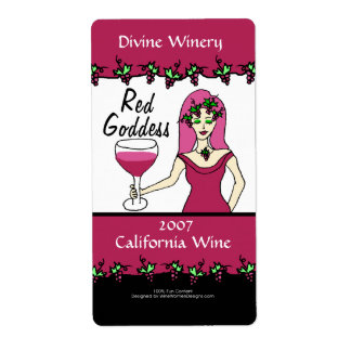 Wine Goddess Red Goddess Custom Faux Wine Labels