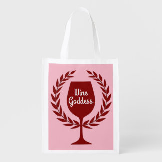 Wine Goddess Red Wine Glass Laurel Wreath Reusable Grocery Bag