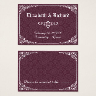 Wine Gothic Victorian Damask Wedding Place Card