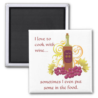 Wine & Grapes Square Magnet