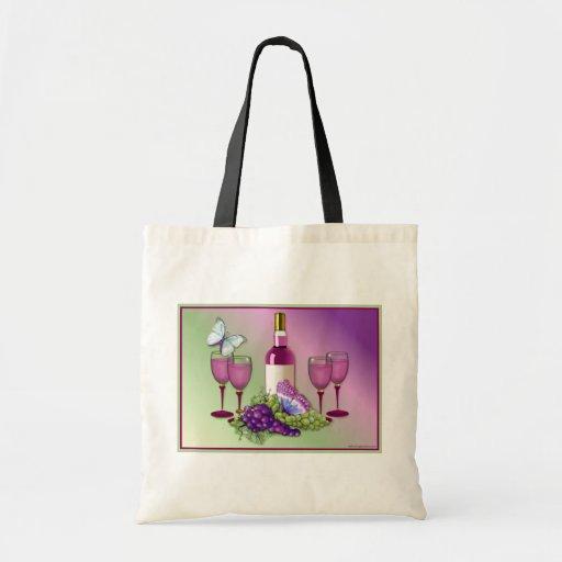 Wine & Grapes Toast Canvas Bags