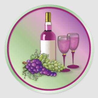 Wine & Grapes Toast Classic Round Sticker