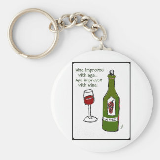Wine improves with age...Age improves with wine. Basic Round Button Keychain