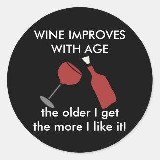 WINE IMPROVES WITH AGE Wine Sticker