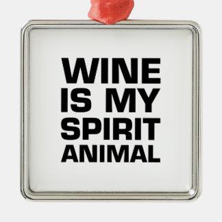 Wine Is My Spirit Animal Metal Ornament
