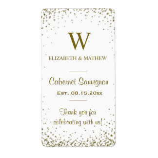 Wine Label Gold Confetti Shipping Label