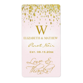 Wine Label Pink and Gold with Confetti Shipping Label