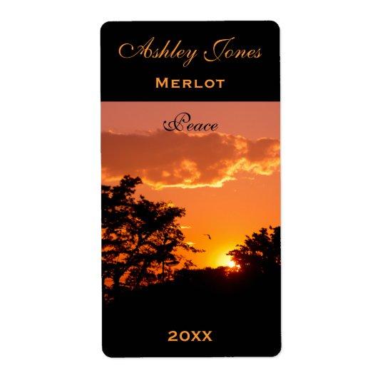 Wine Label Template Orange Sunset Bird Silhoutte