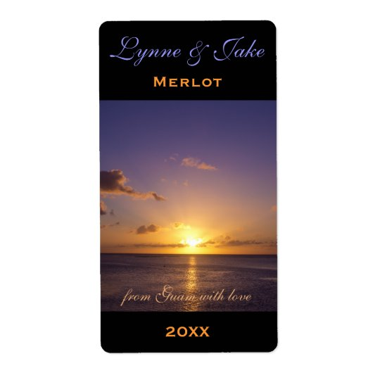 Wine Label Template Tropical Island Sunset Violet Shipping Label