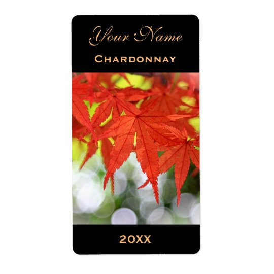 Wine Label Template Vivid Red Autumn Maple Leaves