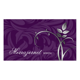 Wine Leaf Vine Purple Silver Business Card Template
