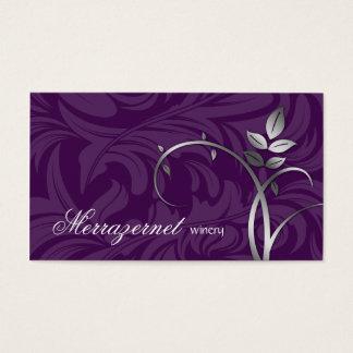 Wine Leaf Vine Purple Silver Business Card