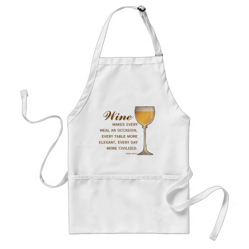 Wine Lover Elegant Wineglass of White with Quote Aprons