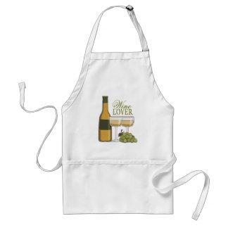 Wine Lover White Wine Bottle Glasses & Grapes Standard Apron