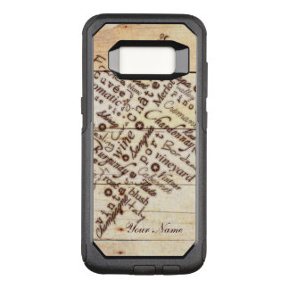 Wine Lovers Rustic Burnt Barn Wood Typography Name OtterBox Commuter Samsung Galaxy S8 Case