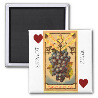 Wine lovers square magnet