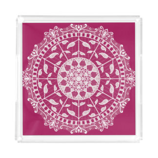 Wine Mandala Acrylic Tray