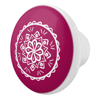 Wine Mandala Ceramic Knob