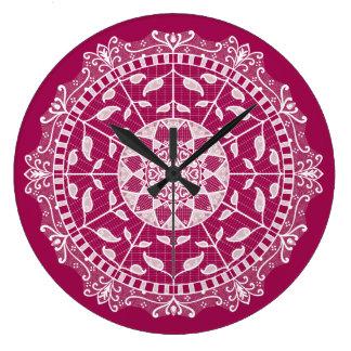 Wine Mandala Large Clock