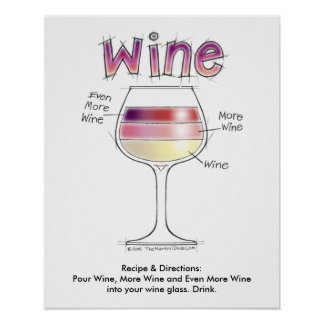 "WINE, MORE WINE, EVEN MORE WINE 16""x20"" Poster"