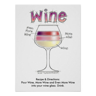 "WINE, MORE WINE, EVEN MORE WINE 18""x24"" Poster"